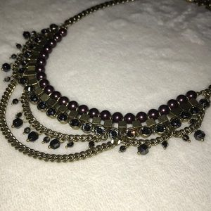 Jewelry - Bronze rhinestone and pearl chain necklace